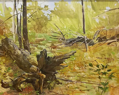 Title: A Fallen Tree Artist: Alan Larkin Medium: Oil  Size: Framed