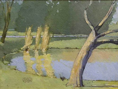 Title: A Pond In New Harmony Artist: Alan Larkin Medium: Oil  Size: Framed