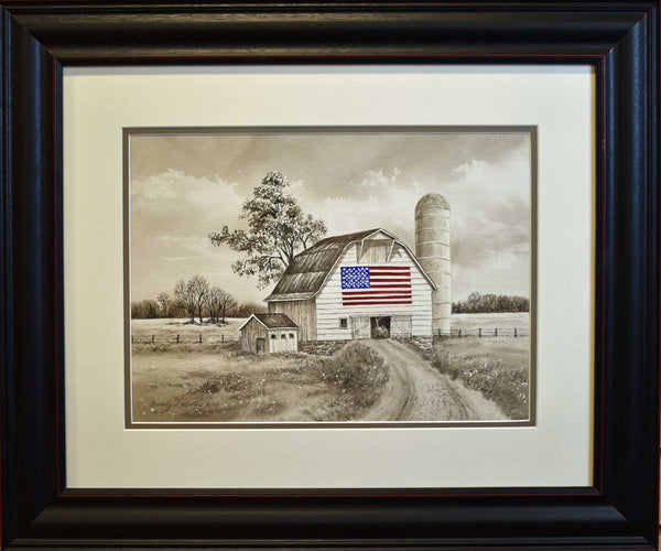 Painting: American Flag Barn Artist: Beverly S. Mathis Medium: Watercolor  Size: framed