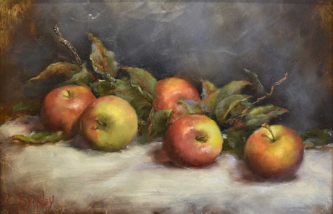 "Title: Amish Apples Artist: Susie Byerley Medium: Oil  Size: 14"" x 18"", framed"