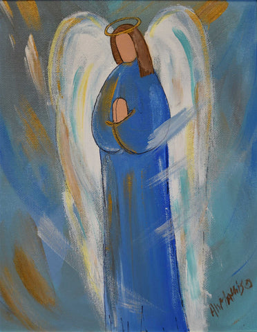 "Painting: An Angel Around Us Artist: Amanda W. Mathis Medium: Acrylic Size: 10"" x 12"", framed"