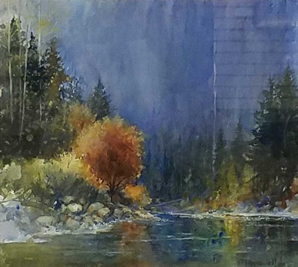 "Painting: At The River's Bend Artist: Dale L. Popovich Medium: Watercolor  Size: 10.75"" x 11.5"", framed 21"" x 21"""