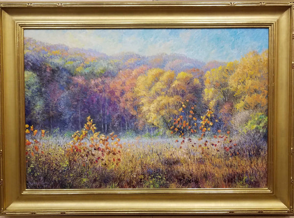 Autumn Morning Oil Painting by Tim Greatbatch View from the Salt Creek Trail (Nashville, IN) looking south. Some mist still in the field, while the sun (from left) casts a shadow across the treeline. Wrapped in a 23kg, hand carved Motyka frame (#27 Shovel Carve).
