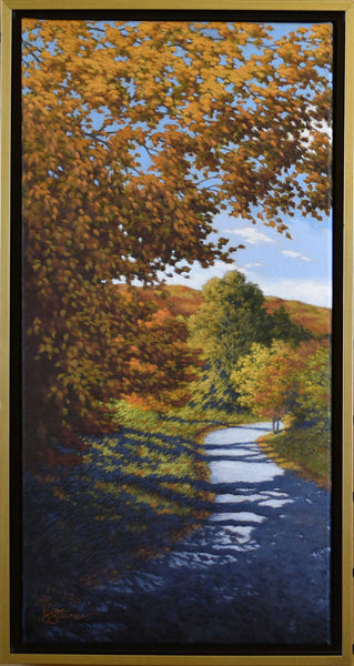 "Title: Autumn Road Artist: Sharon Steiner Medium: Oil  Size: 13.5"" x 25.5"", framed"