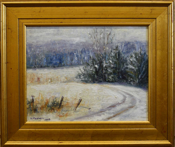 "Title: Back Pasture Road Artist: Nancy Maxwell Medium: Oil  Size: 16"" x 20"", framed"