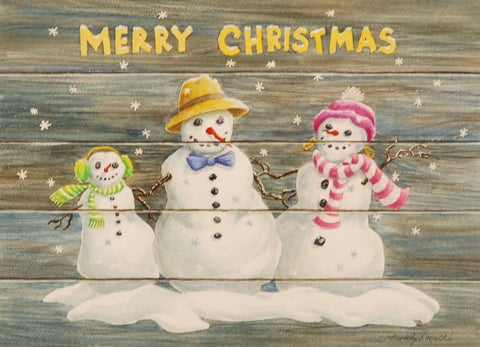 Painting: Merry Snowman Family Artist: Beverly S. Mathis Medium: Watercolor