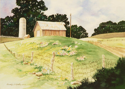 Painting: The Grass Withers Artist: Beverly S. Mathis Medium: Watercolor & Ink