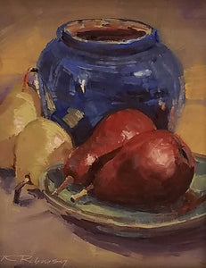 Brown County Pottery With Pears Oil Painting by Thom Robinson