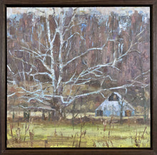 "Load image into Gallery viewer, Title: Brummett's Creek Sycamore Artist: Eric Brock Medium: Oil on Panel Size: 12"" x 12"", framed 13.25"" x 13.25"""