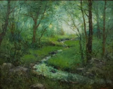 "Title: Came Upon A Quiet Glade Artist: Karen Graeser Medium: Oil  Size: 31"" x 37"", framed"