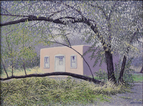 Title: Casita on the Embudo, Dixon, New Mexico Artist: James Tracy Medium: Oil On Panel  Size: 19
