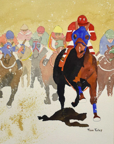 "Title: Front Runner Artist: Thomas Tuley Medium: Watercolor Size: 25.5"" x 21"", framed"