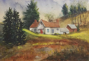"Gingerbread House Artist: Kathleen Ryan Cox Medium: Watercolor  Size: 19"" x 25""  Original artwork, matted"