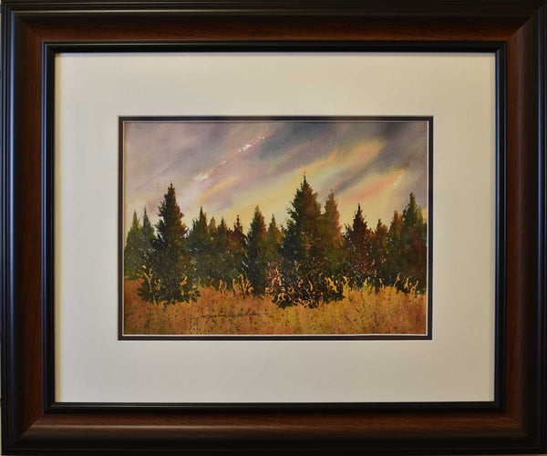 "Painting: Grandpa's Tree Farm Artist: Jacqueline Phillips Medium: Watercolor Size: 20.5"" x 24.5"", framed"