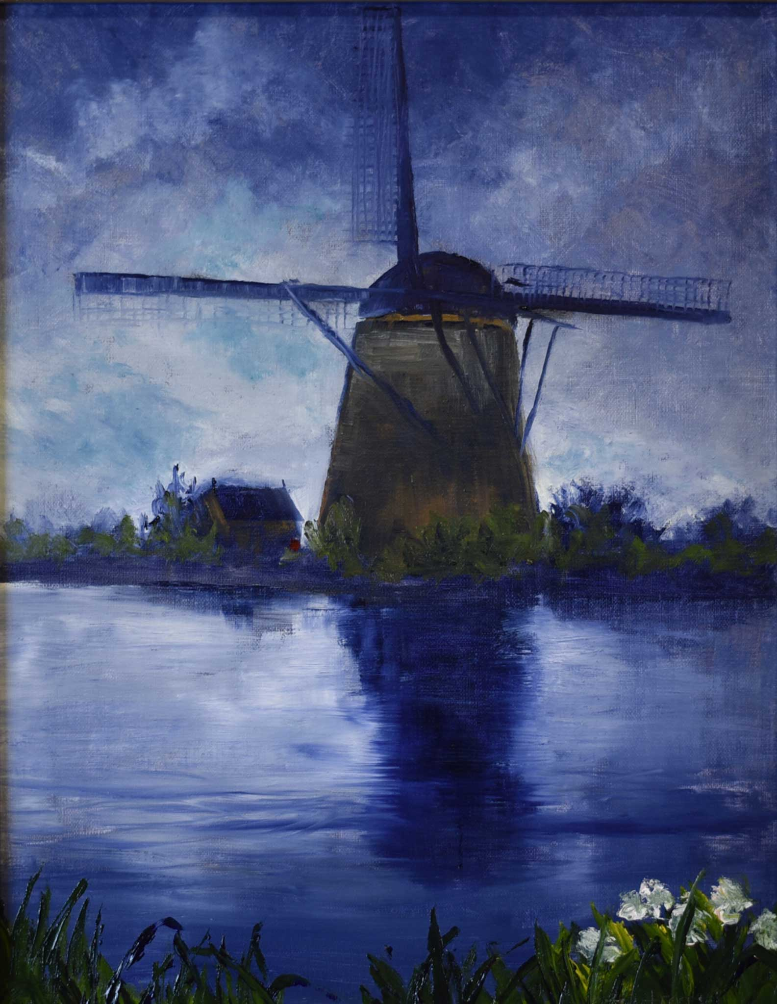 "Title: Kinderdijk Artist: Rhonda Bontrager Medium: Oil Size: 11"" x 14"", Framed"