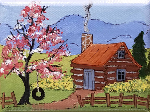 "Brown County Log Cabin with tire swing.   Artist: Amanda W. Mathis Medium: Acrylic Size: 3"" x 4""  Original artwork, no matting or frame"