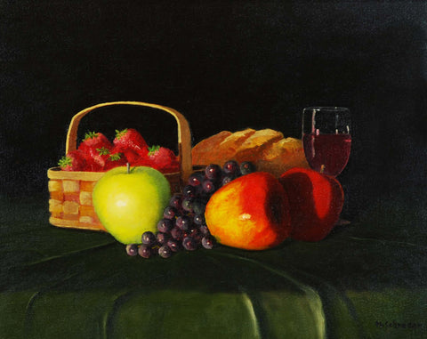 "Painting: Fruit, Bread & Wine Artist: Michael Schrader Medium: Oil   Size: 16"" x 20"", framed"