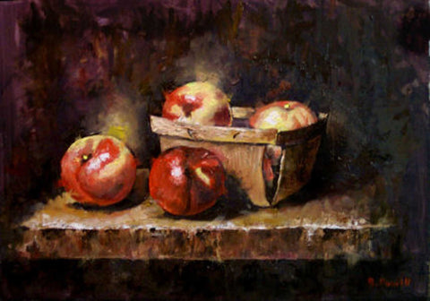 "Title: Nectarines Artist: Barry Powell Medium: Oils  Size: 9"" x 12"", framed"