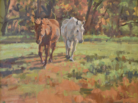 "Title: October Morning Turnout Artist: Eric Brock Medium: Oil  Size: 13"" x 17"", framed"