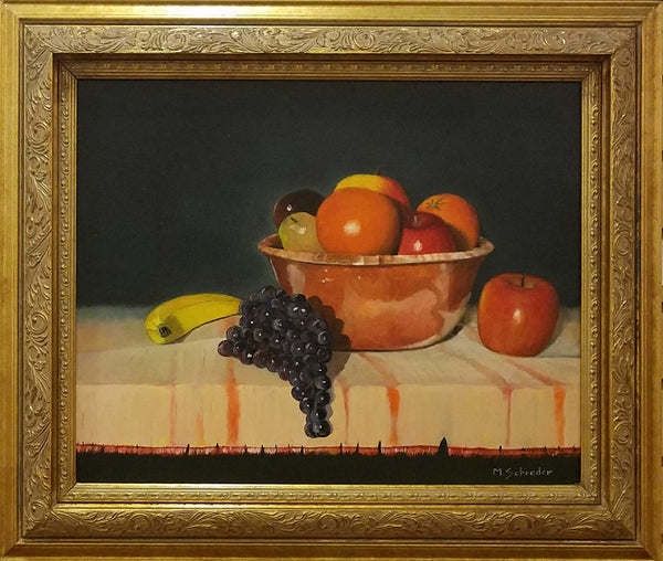 "Painting: Orange Bowl with Fruit Artist: Michael Schrader Medium: Oil   Size: 16"" x 20"", framed"