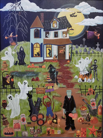 Painting: Party At The Ghouls Artist: Amanda W. Mathis Medium: Acrylic Mixed Media Size: Framed