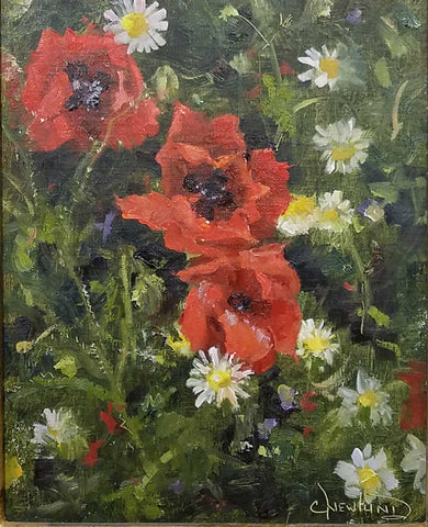"Painting: Poppies & Chamomile Artist: Chris Newlund Medium: Oil on Linen  Size: 10"" x 8"", framed"