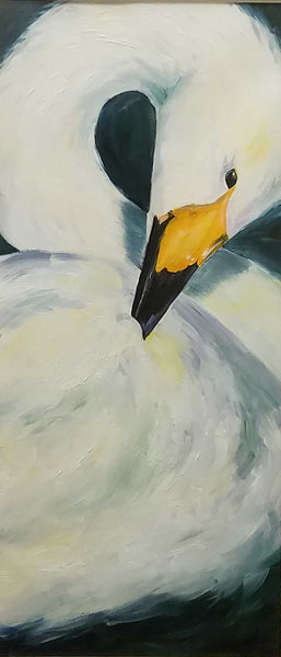 "Title: ""Preening"" Artist: Jennifer Fox  Medium: Oil Paint on Watercolor Size: 19"" x 33"" Framed"