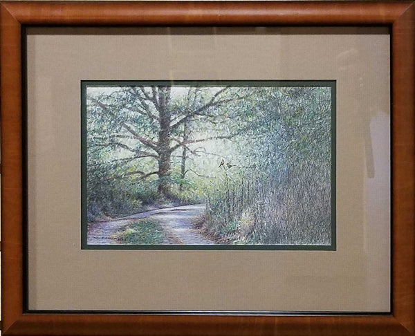 Title: Pryor Cemetery Lane Artist: Ken Bucklew Medium: Colored Pencil, Oil Pastel Size: Framed