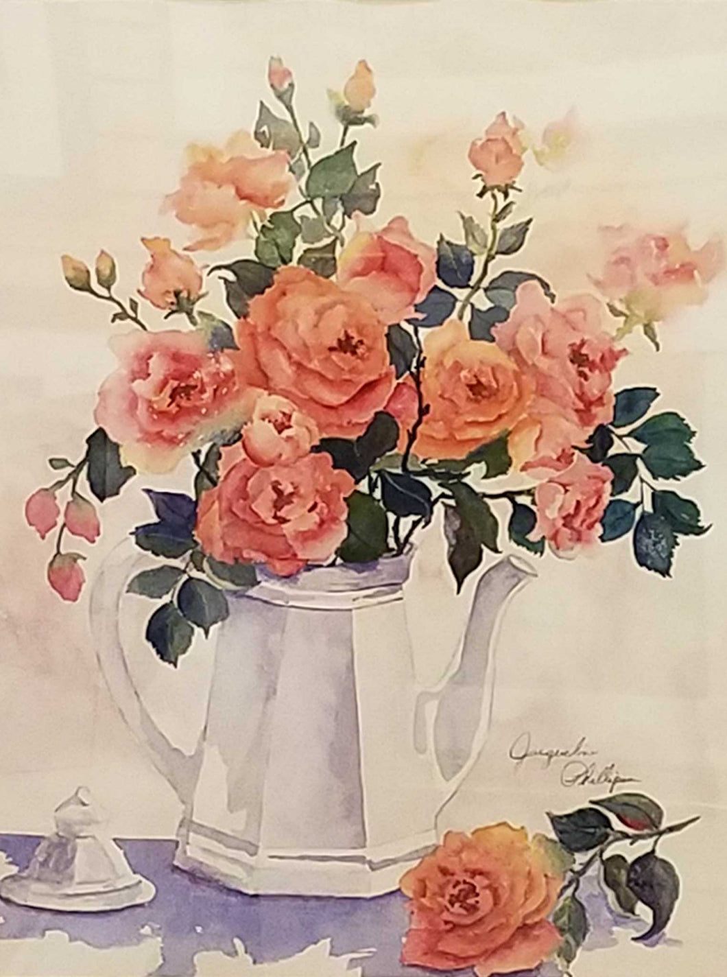 Painting: Roses In White Teapot Artist: Jacqueline Phillips Medium: Watercolor Size: Framed