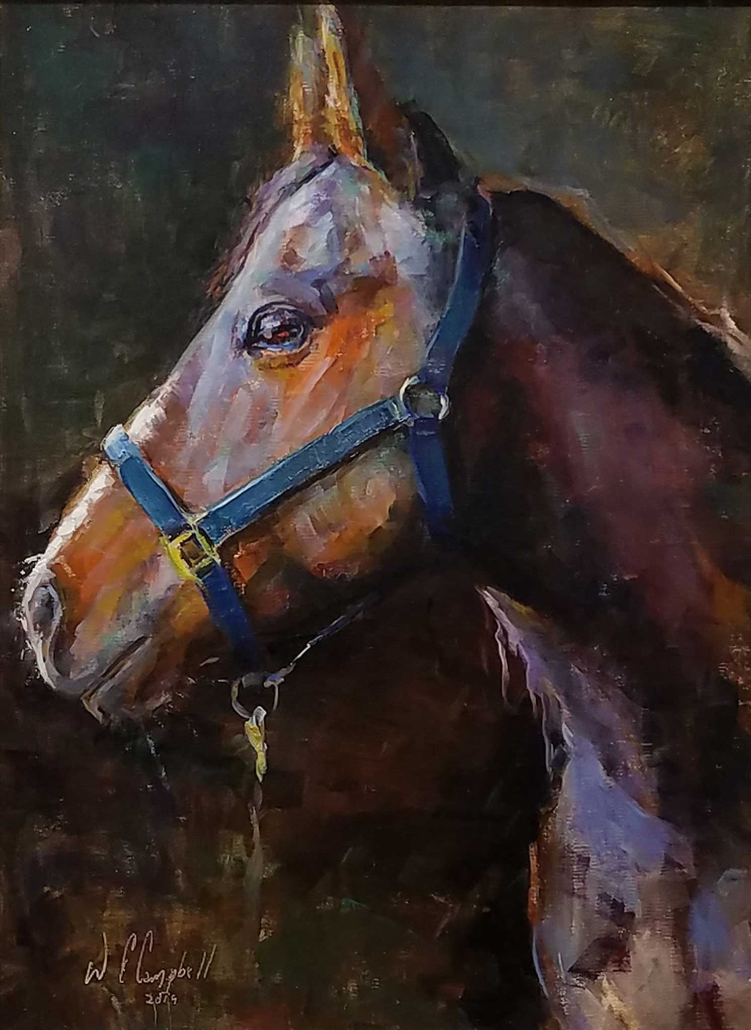 "Painting: Rudy Artist: Wayne Campbell Medium: Oil   Size: 16"" x 12"", framed"