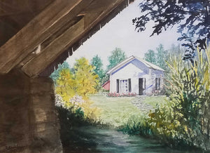 "Secluded Cottage Artist: Christine Ardelean Medium: Watercolor Size: 16"" x 20""  Original artwork, matted, no frame"