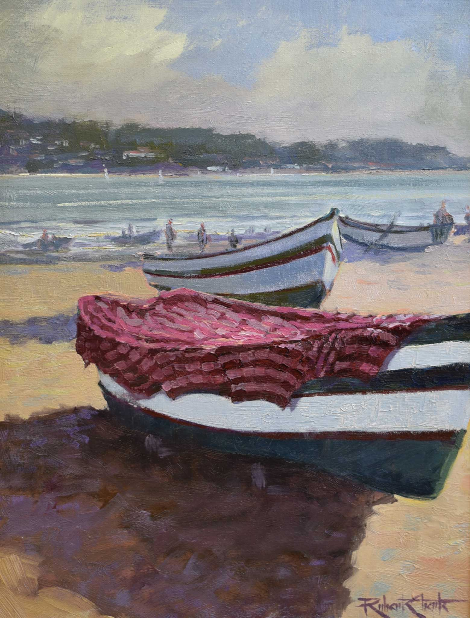 "Painting: Fishing Boats Artist: Robert Eberle Medium: Oil   Size: 25"" x 21"", framed"