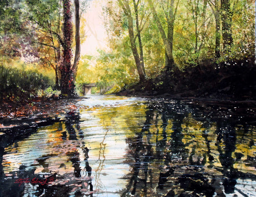 Title: Slow Water of Summer Artist: Stephen Edwards Medium: Watercolor  Size: 26