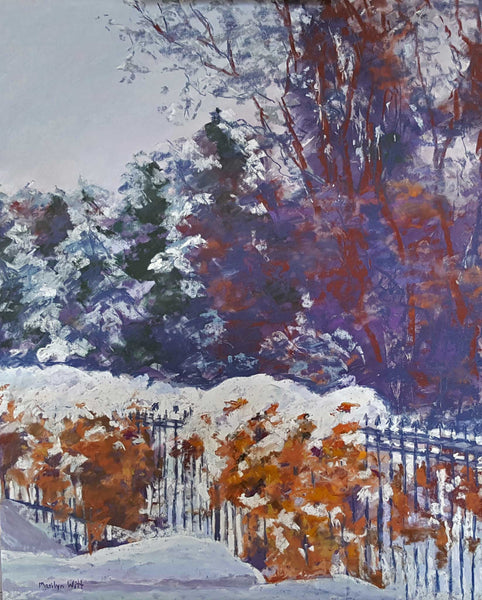 "Title: Snow Fence Artist: Marilyn Witt Medium: Soft Pastel Size: 16"" x 12"", Black frame 3"""