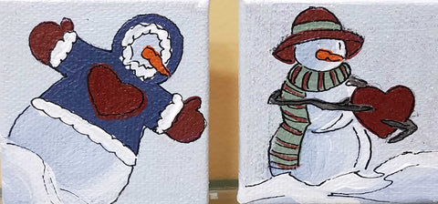 "Set of 2 snowmen ornaments each with a red heart  Artist: Amanda W. Mathis Medium: Acrylic Size: 2"" x 2"" each 