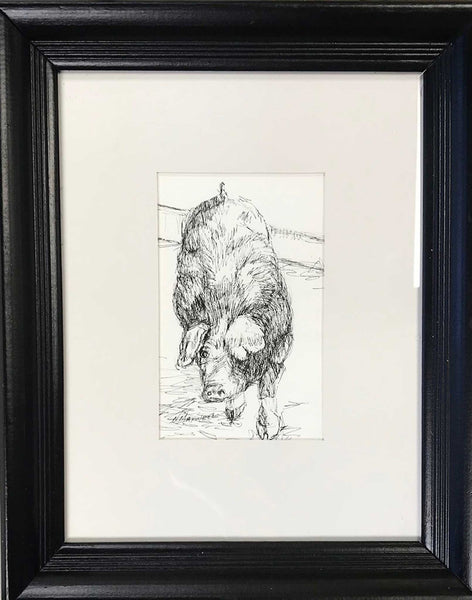 "Title: Some Pig Artist: Nancy Maxwell Medium: Pen & Ink with Watercolor Size: 12"" x 14"", framed Matted and under glass"