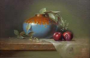 Still With Plums Oil Painting by Judith Lewis