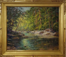 Load image into Gallery viewer, Summer Creek Oil Painting by Tim Greatbatch View of McConner's Creek (McConner's Mill State Park, TN) in mid-summer. Wrapped in 23kg, hand carved Motyka frame (#33 Willow Carve).