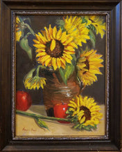 Load image into Gallery viewer, Title: Sunflowers and Apples Artist: Maggie Rapp Medium: Oil Size: Framed