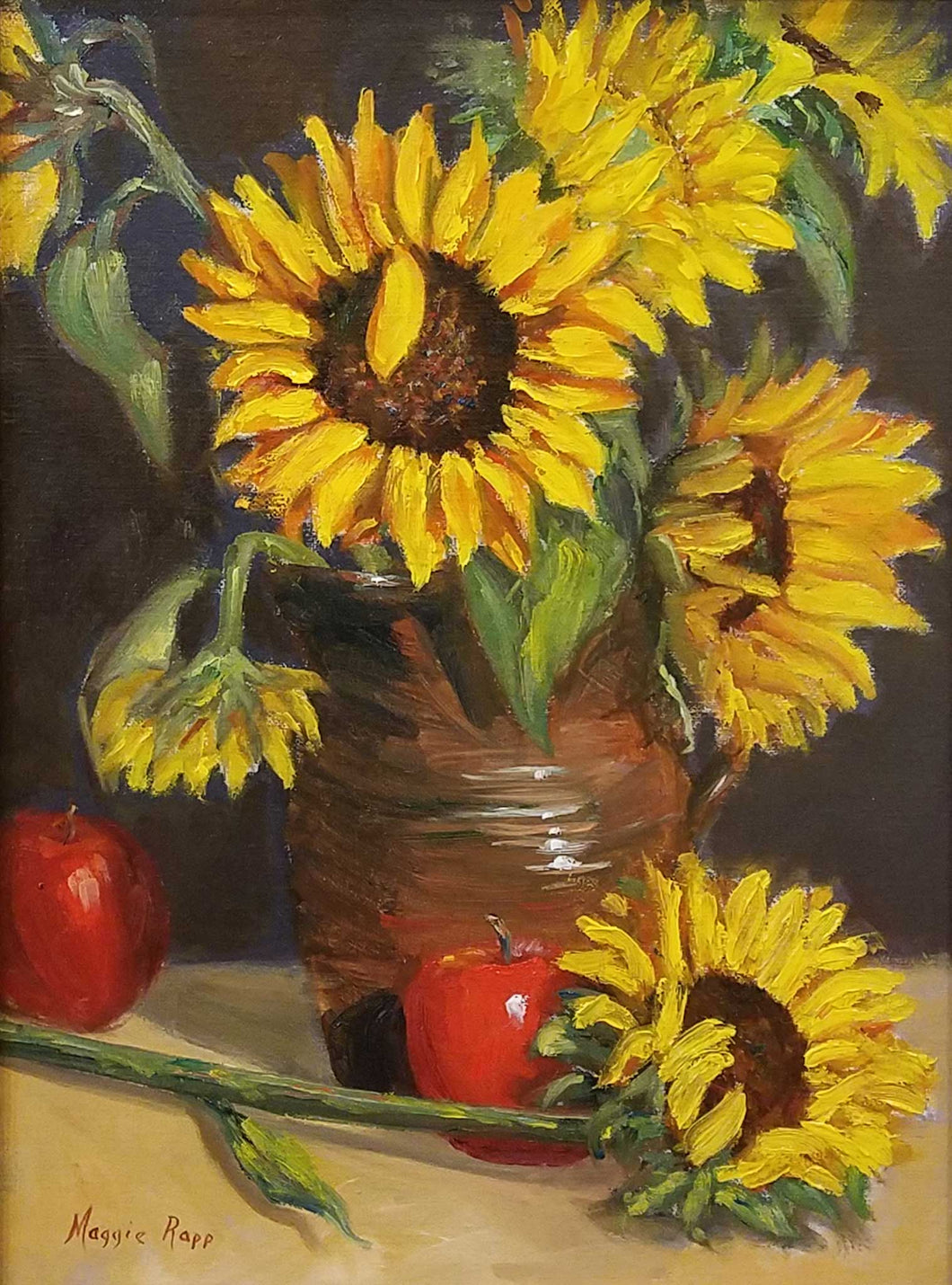 Title: Sunflowers and Apples Artist: Maggie Rapp Medium: Oil Size: Framed
