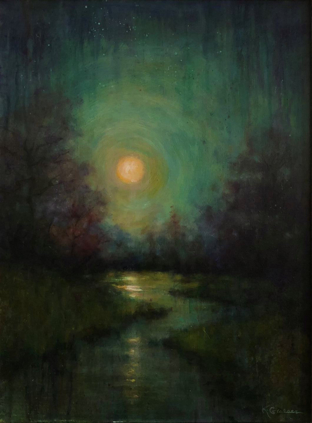 Title: Super Blue Blood Moon Artist: Karen Graeser Medium: Oil  Size: 24 x 18, framed