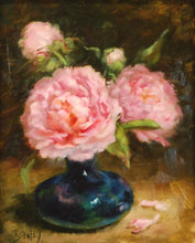 "Load image into Gallery viewer, Title: Peonies In Cobalt Artist: Susie Byerley Medium: Oil  Size: 8"" x 10"", framed"