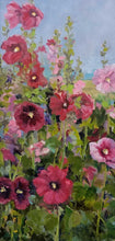 "Load image into Gallery viewer, Title: Teresa's Hollyhocks Artist: Marilyn Witt Medium: Oil on Canvas Size: Framed 24"" x 12"""