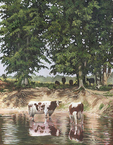 "Title: The Cow Pond Artist: Barry Powell Medium: Oils  Size: 16"" x 20"", framed"