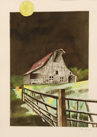 "Title: By The Light Of The Moon Artist: Thomas Tuley Medium: Watercolor Size: 15"" x 11"", framed"