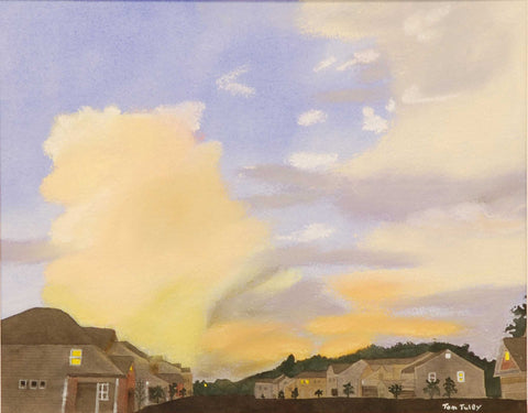 "Title: Suburban Sunset Artist: Thomas Tuley Medium: Watercolor Size: 12"" x 16"", framed"
