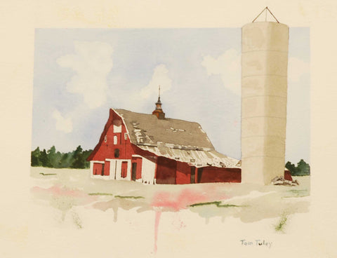 "Title: Zionsville Barn Artist: Thomas Tuley Medium: Watercolor Size: 12"" x 16"", framed"