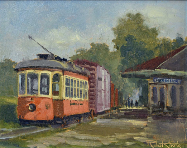 "Painting: Trolley to French Lick Artist: Robert Eberle Medium: Oil   Size: 17"" x 20"", framed"