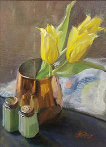 Title: Tulips In Copper Artist: Stephanie Spay Medium: Oil on Linen Size: framed