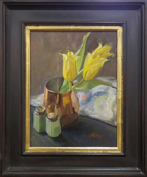 "Title: Tulips In Copper Artist: Stephanie Spay Medium: Oil on Linen Size: 17"" x 14"", framed"